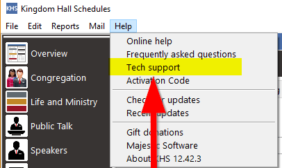 Help Tech Support menu option image